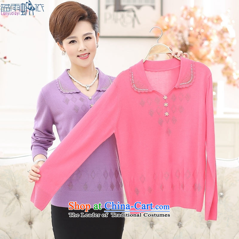 In the autumn of 2015, older women temperament mother Load Color ironing drill collars sweater in pink�0 yards XXL
