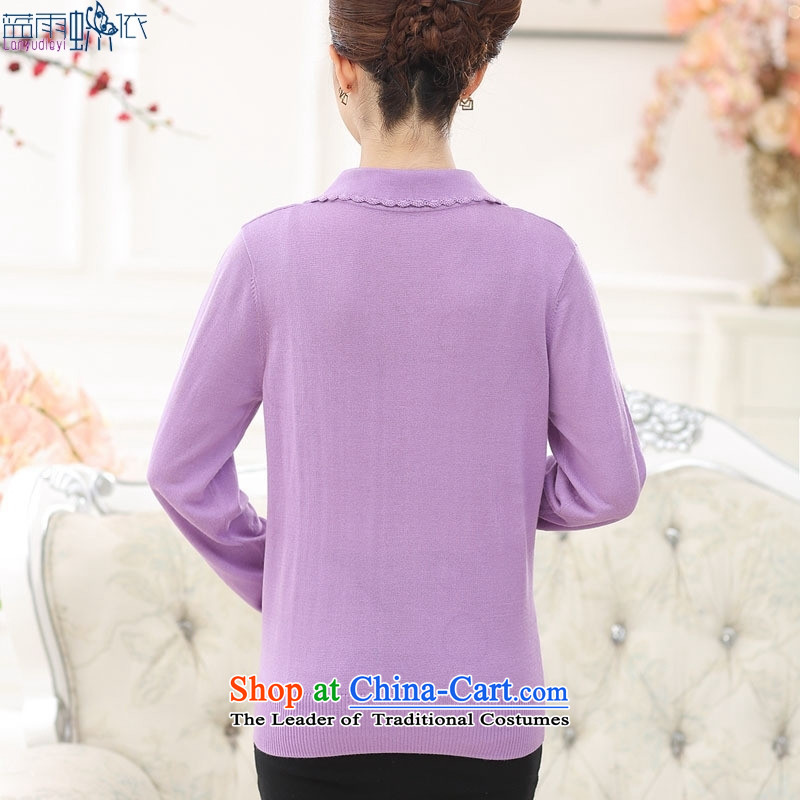 In the autumn of 2015, older women temperament mother Load Color ironing drill collars sweater in pink聽120 yards XXL, blue rain butterfly according to , , , shopping on the Internet