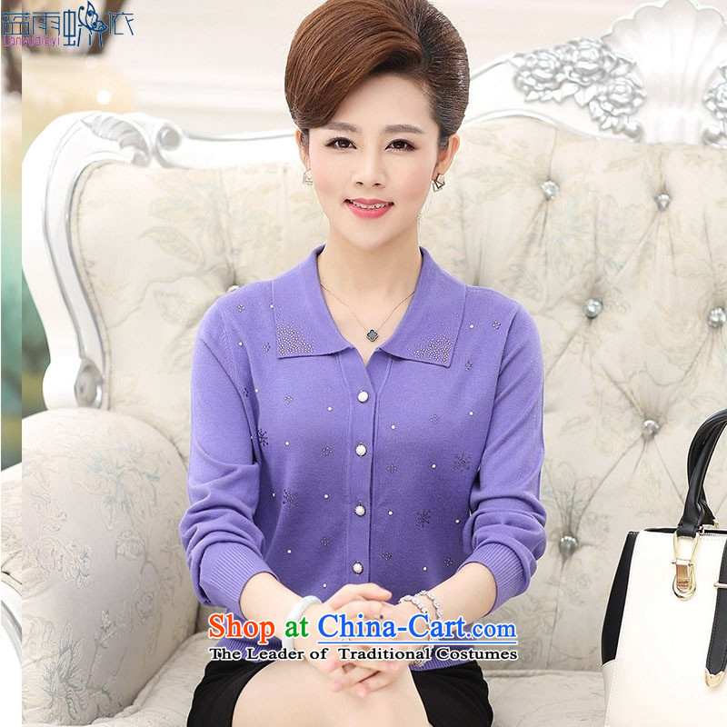 Replace MOM 2015 Autumn In New boxed women older lapel blue t-shirt聽, blue rain butterfly according to , , , shopping on the Internet