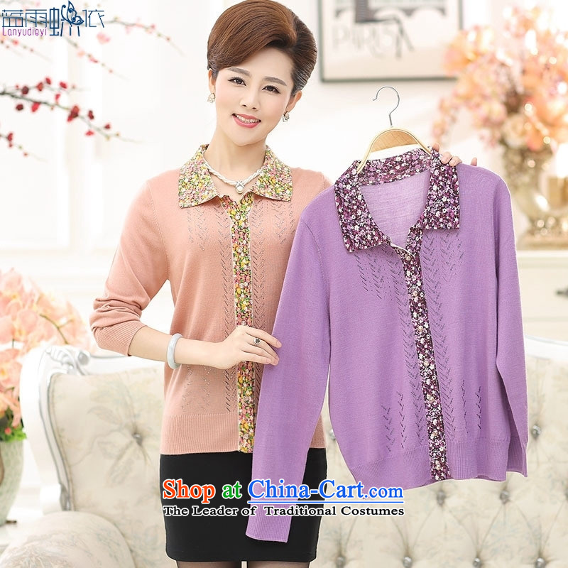 In the autumn of 2015, older women temperament mother boxed stamp flip Neck Sweater Violet 120 yards XXL