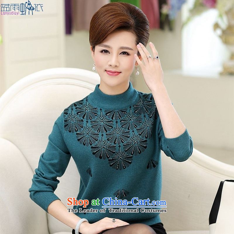 In 2015, the elderly woman fall in new moms with large middle-aged long-sleeved replacing high-collar, forming the light violet燣