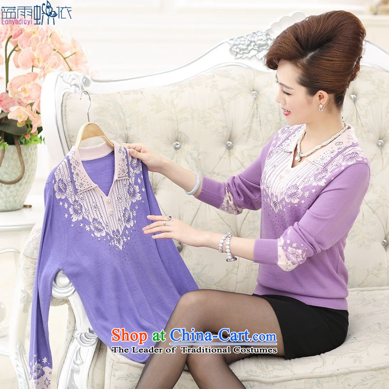 In the autumn of 2015, older women temperament mother replacing stamp ironing drill collars sweater purple�5 yards XL