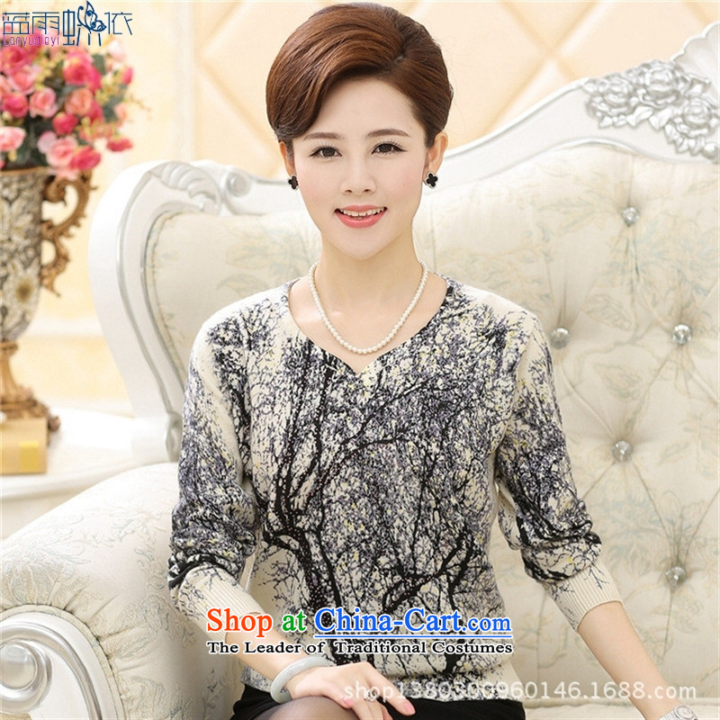 The elderly in the 2014 Women's long-sleeved mother load install autumn fall inside the new stamp larger knitting clothes m Yellow�0