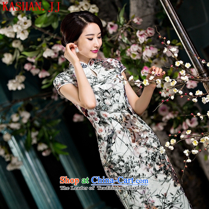 Mano-hwan's new double-cashmere long qipao daily Popular national wind female graphics thin ethnic performances cheongsam long facade?L