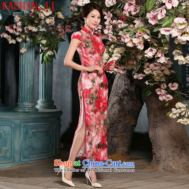 Mano-hwan's 2015 new sweet temperament of ethnic women poster Sau San retro long red qipao improved�L