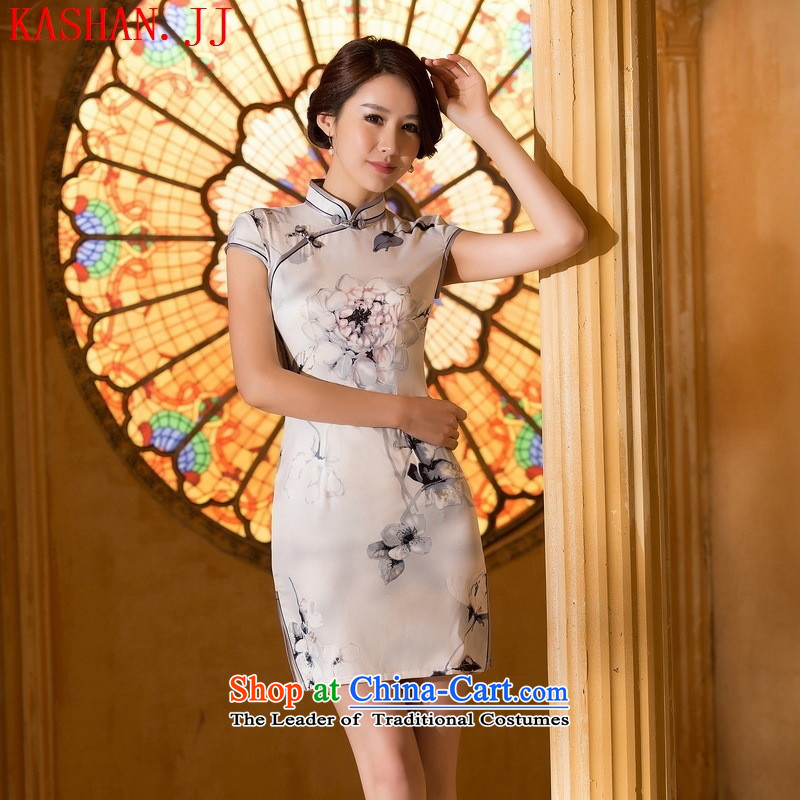 Mano-hwan's 2015 New Silk Cheongsam Stylish retro improved day-to-day short skirts qipao temperament and sexy Sau San ink thin graphics燲XL