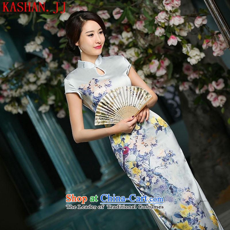 Mano-hwan's autumn 2015 Spring/Summer New Long heavyweight Silk Cheongsam 7 Cuff Shanghai improved temperament cheongsam dress gray�XL