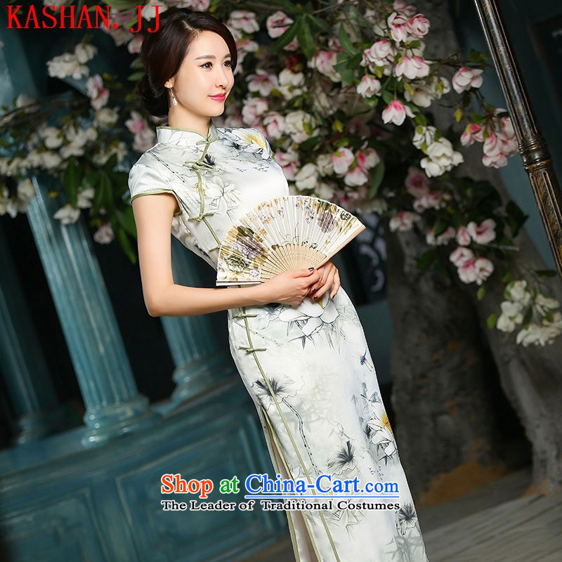 The long-hwan, heavyweight silk cheongsam dress cheongsam dress 2015 Spring_Summer new cheongsam long Lotus Dragonfly?L