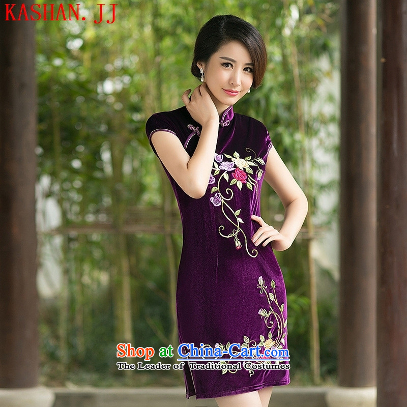 Mano-hwan's temperament autumn 2015 new boxed embroidery qipao Stylish retro-day   improved velvet cheongsam purple�L