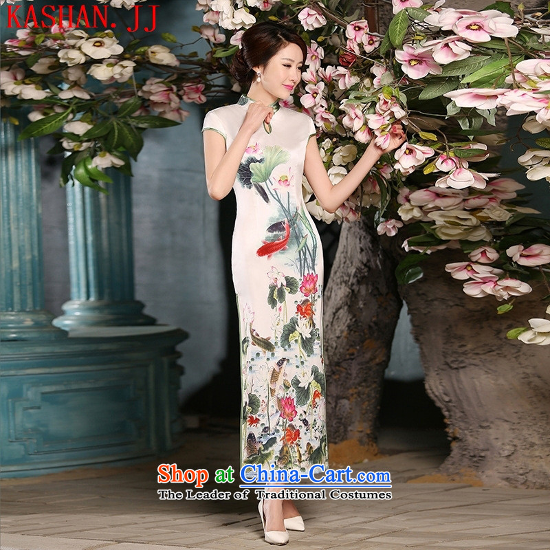Mano-hwan's 2015 new sweet temperament of ethnic women silk Sau San retro improved long qipao white?S