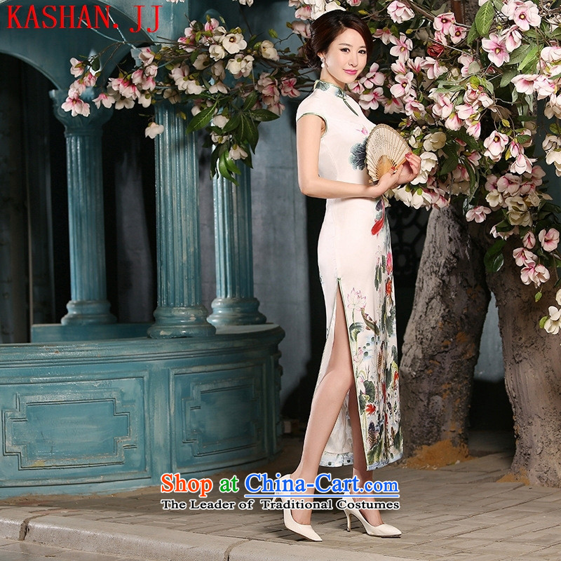 Mano-hwan's 2015 new sweet temperament of ethnic women silk Sau San retro improved long white聽S Card Shan Qipao (KASHAN.JJ CHRISTMASTIME) , , , shopping on the Internet