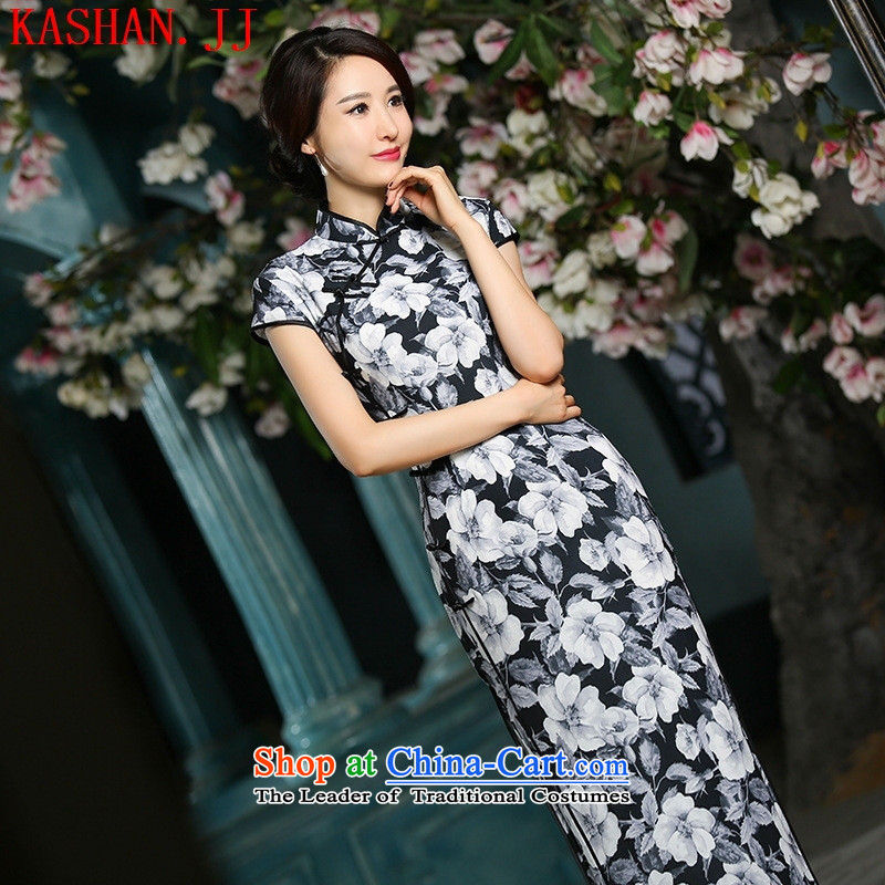 Mano-hwan's temperament of nostalgia for the new double long of the forklift truck cheongsam dress suit Female Black XL