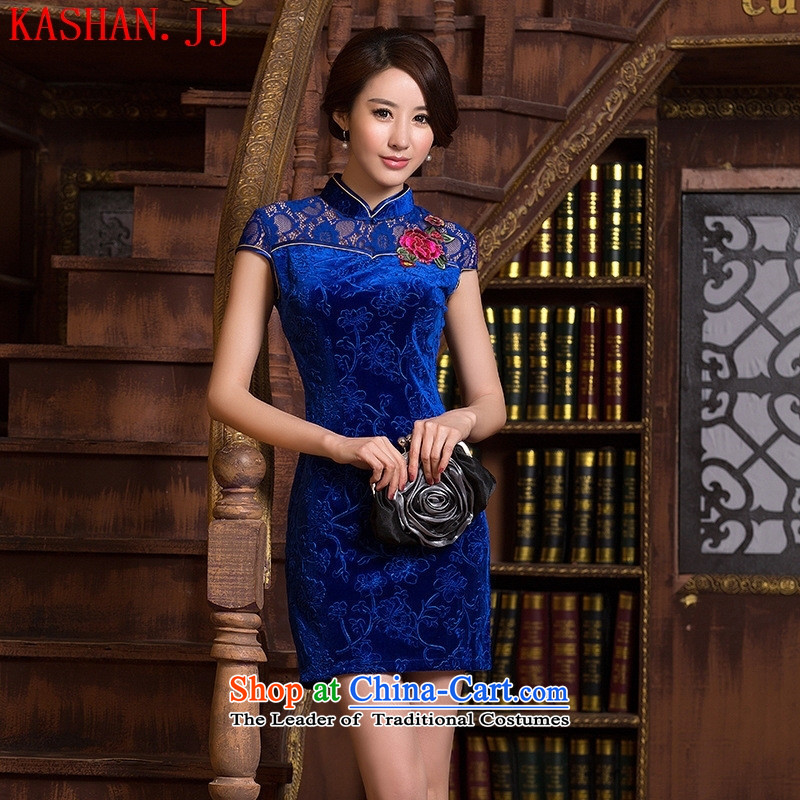 Mano-hwan's new ethnic women cheongsam dress stylish velvet Sau San lace improved short, sapphire blue qipao燲L
