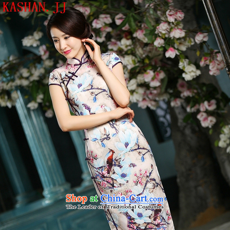 Mano-hwan's spring and summer new heavyweight reduced long-retro qipao the forklift truck stylish cheongsam dress long bird flower燲XL