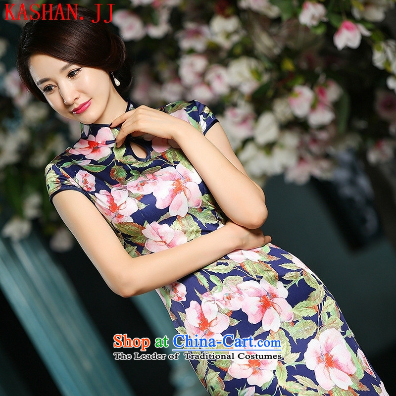 Mano-hwan's long summer day-to-qipao fork retro long skirt summer performances qipao improved graphics thin Sau San dresses women_, floral燲L