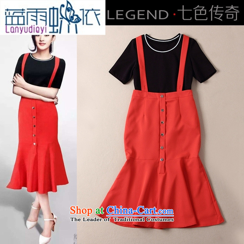 Ya-ting shop 2015 new products stars fall below a black T-shirt with + red crowsfoot strap skirt two kits B424 Black + Red�S