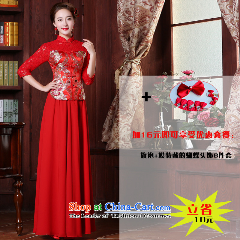 The new 2015 Red bride services-soo Wo Service bows stylish Chinese wedding dresses marriage qipao spring and fall of 7 to +26 cuff female Head Ornaments in聽L