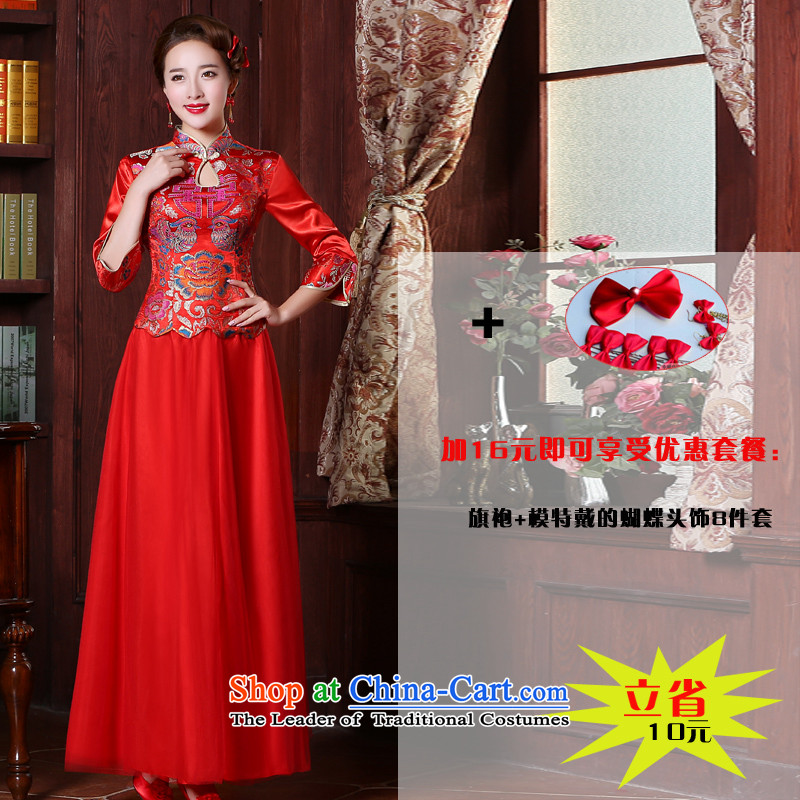 Sau Wo Service bridal dresses retro bows services 2015 Sau San chinese red color wedding dress wedding dresses and Phoenix use fall of 7 to +26 cuff headdress?2XL