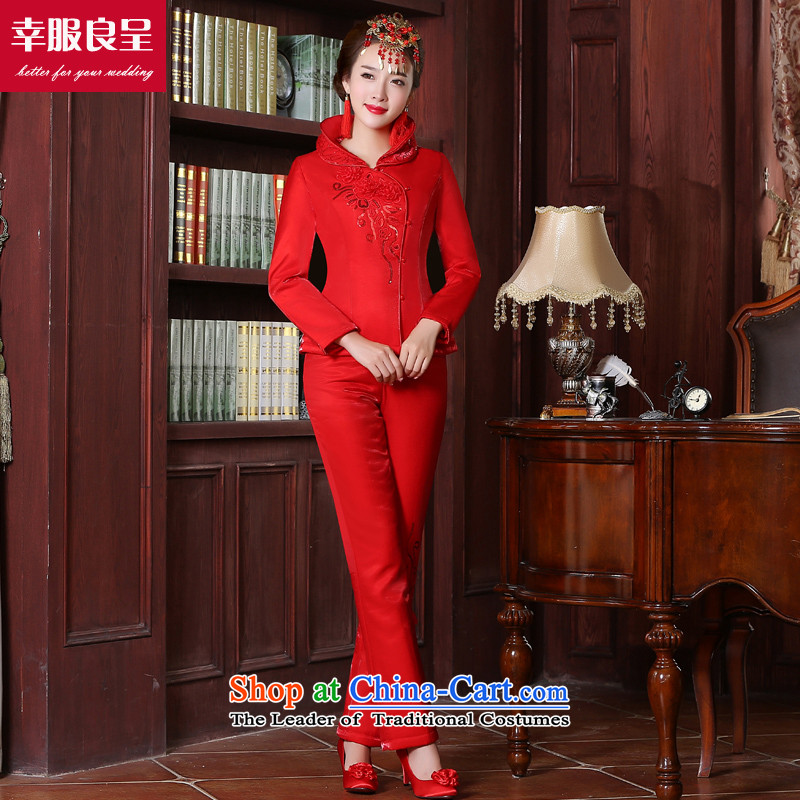 Toasting champagne bride services cheongsam wedding dress Chinese style wedding dress code brides trendy clothing wedding dress autumn and winter long-sleeved red�2XL