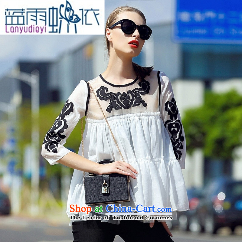 Ya-ting shop 2015 Women's sleek and elegant ground gauze collage cloth like Susy Nagle embroidered loose 7 color photo-sleeved shirt聽S