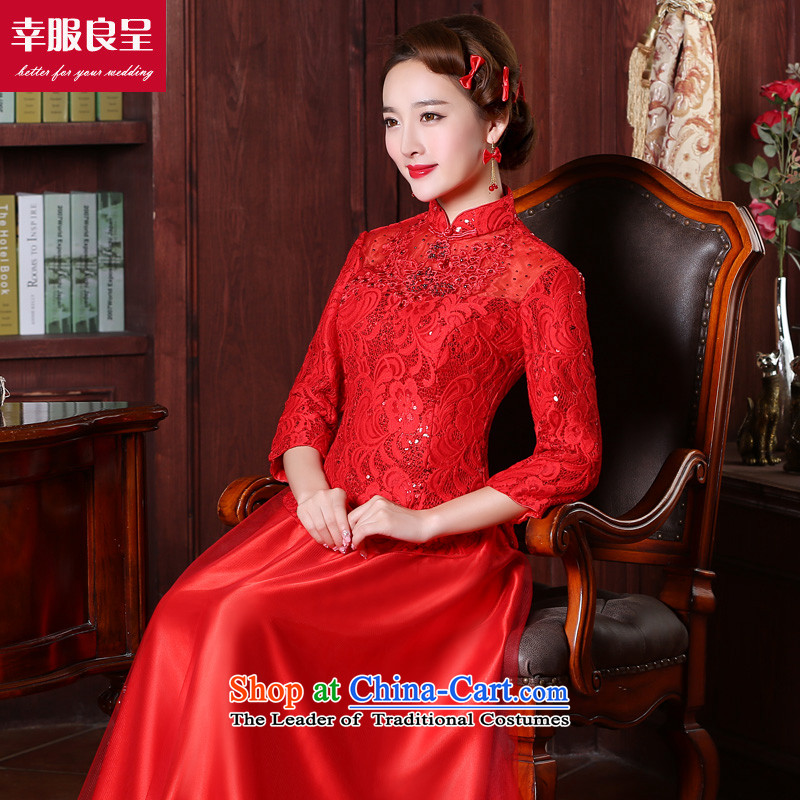 However Service Bridal red qipao Chinese wedding dress 2015 new winter clothing long bride with stylish wedding dress 7 sleeve length dress�L