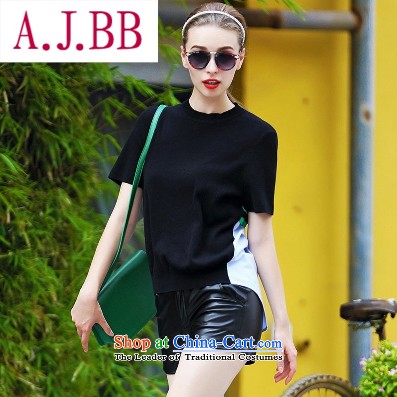 Ya-ting and fashion boutiques Western Couture fashion early autumn 2015 new products large relaxd elegance back the spell checker T-shirt, green color streaks�S