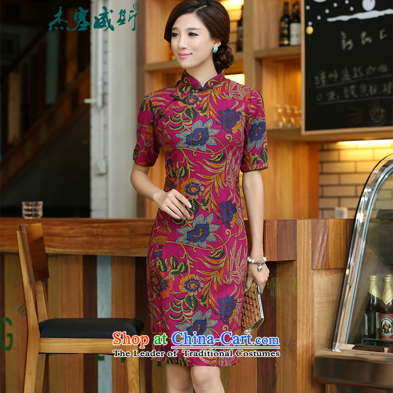 In the spring and autumn jie women improved lining in licensed by long cotton linen word manually detained qipao cheongsam dress Meng Lan Mock-neck?XXL