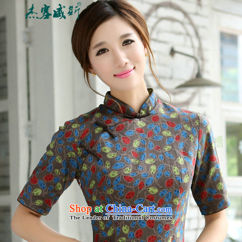In the spring and autumn jie women improved in the collar lining has thickened the cuff long cotton linen word manually detained qipao cheongsam dress�C�Begonia Mock-neck�S