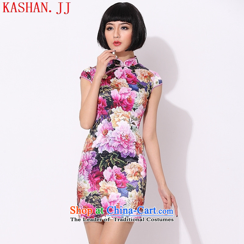 Mano-hwan's summer improved stylish cotton short skirts of cheongsam dress daily evening show women dress pink XS