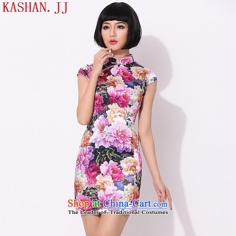 Mano-hwan's summer improved stylish cotton short skirts of cheongsam dress daily evening show women dress pink�XS