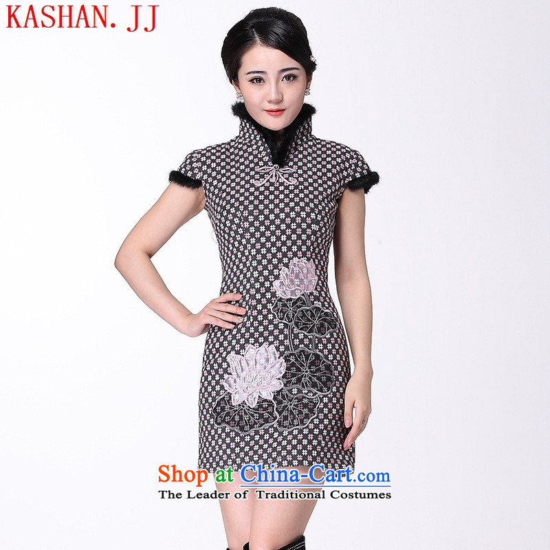 Mano-hwan's 2015 winter clothing new rabbit hair cheongsam dress retro insets improved embroidery Warm gray skirt?S