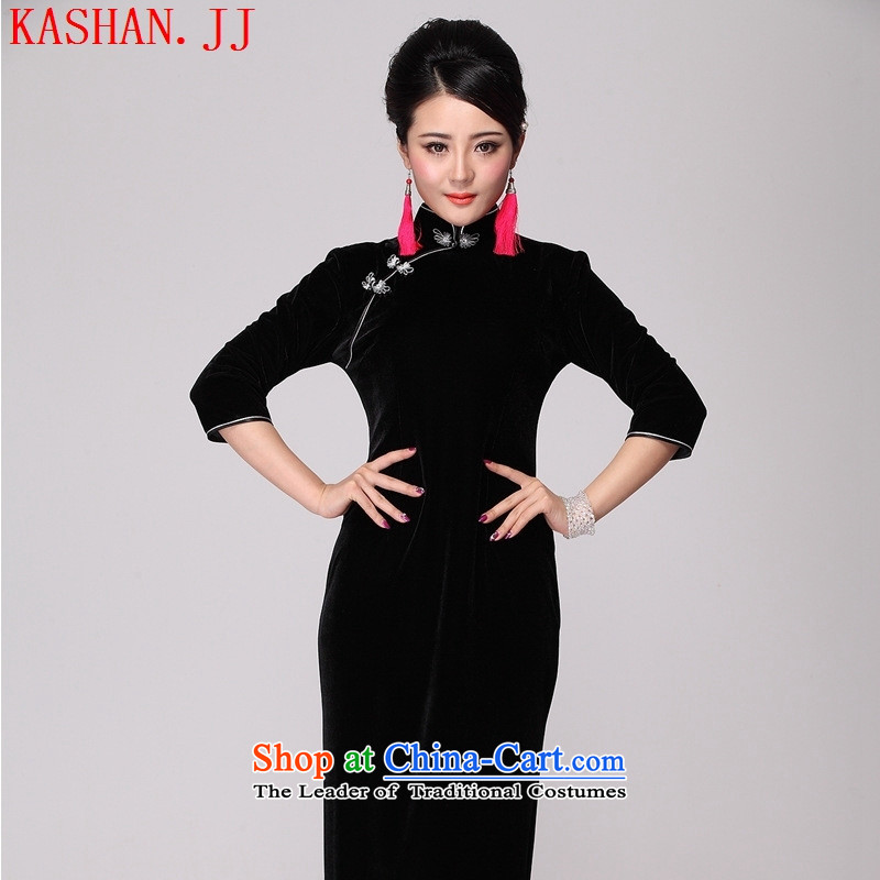 Mano-hwan's long black velvet emerald blue Kim qipao 7 cuff large retro Sau San evening dresses燲XXXL Dark Green
