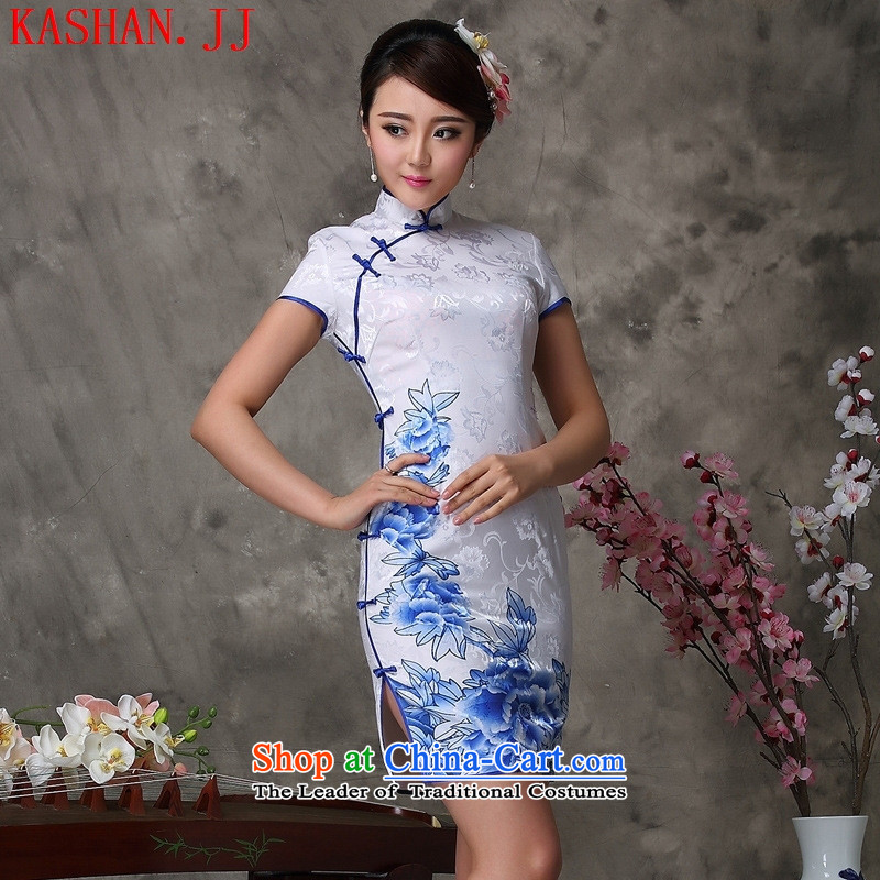 Mano-hwan's 2015 Summer New Stylish retro porcelain dresses short-sleeved Sau San retro cotton white燣 Cheongsam