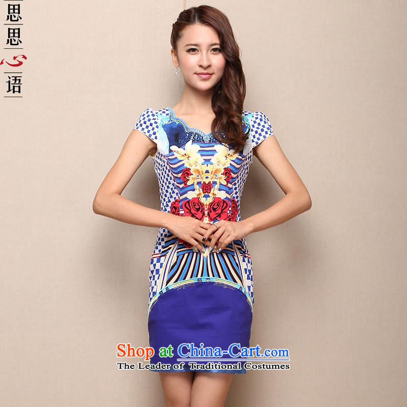 Mano-hwan's 2015 new middle-aged female load improved qipao V-Neck Chinese cotton qipao Sau San skirt cobalt blue XXXL