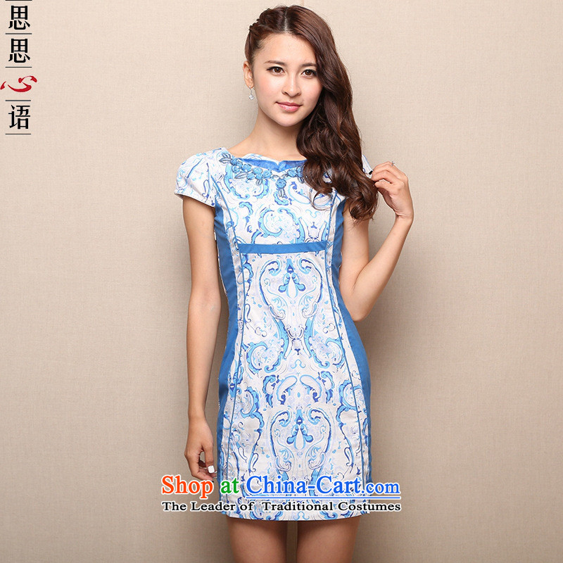 The short-hwan, Retro ethnic suits skirts 2015 new porcelain cheongsam dress blue on white flower燲L