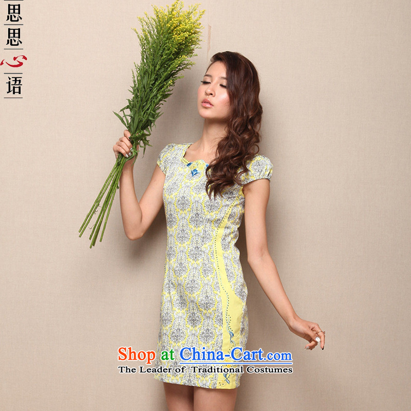 Mano-hwan's 2015 new summer short thin graphics as decoration, dresses step skirt pure cotton stamp qipao bright yellow燲XL