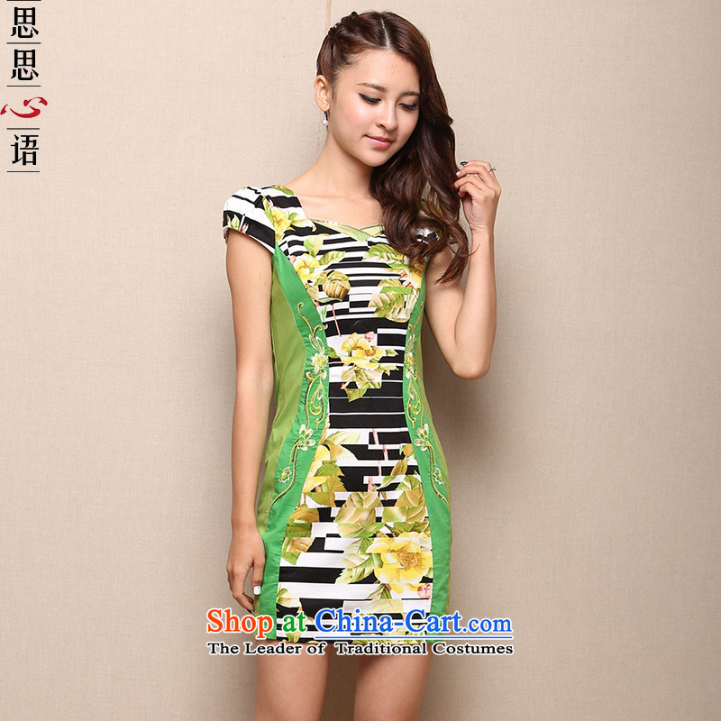 Mano-hwan's 2015 summer daily short, improved qipao skirt pure cotton dress code for women results big green?L