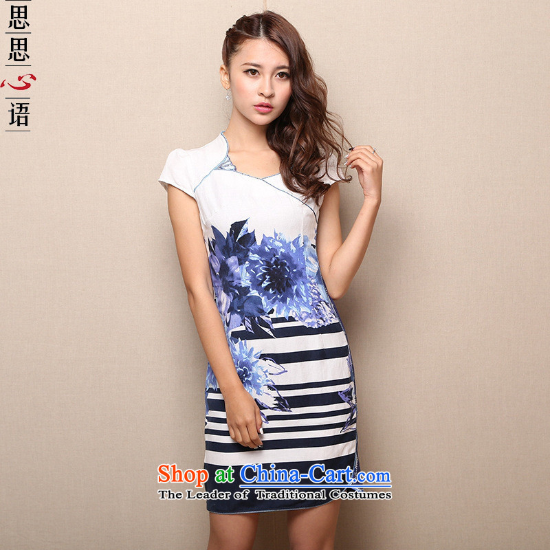 Mano-hwan's 2015 Summer new improved retro short of qipao dresses daily female skirt cobalt blue燲L