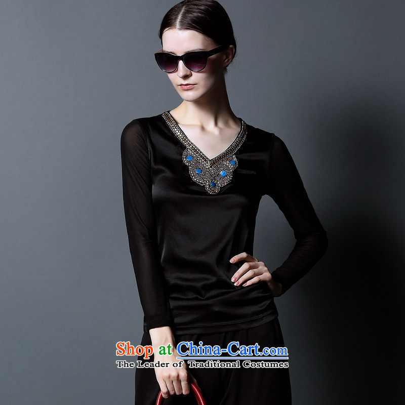 Web soft clothes V-neck, forming the basis of silk shirt with stylish new fall sense of high-end, forming the Netherlands long-sleeved T-shirt gray燲L