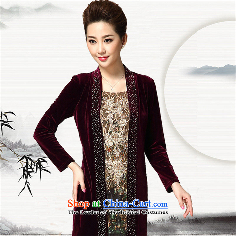 Web soft clothes Mother New_ Older women's autumn false two large long-sleeved velvet wine red燲XL