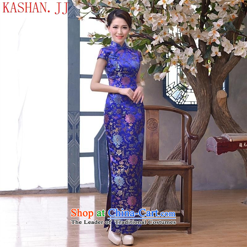 Mano-hwan's 2015 spring/summer load new long cheongsam dress retro improved tapestries cheongsam dress dress suit picture?L