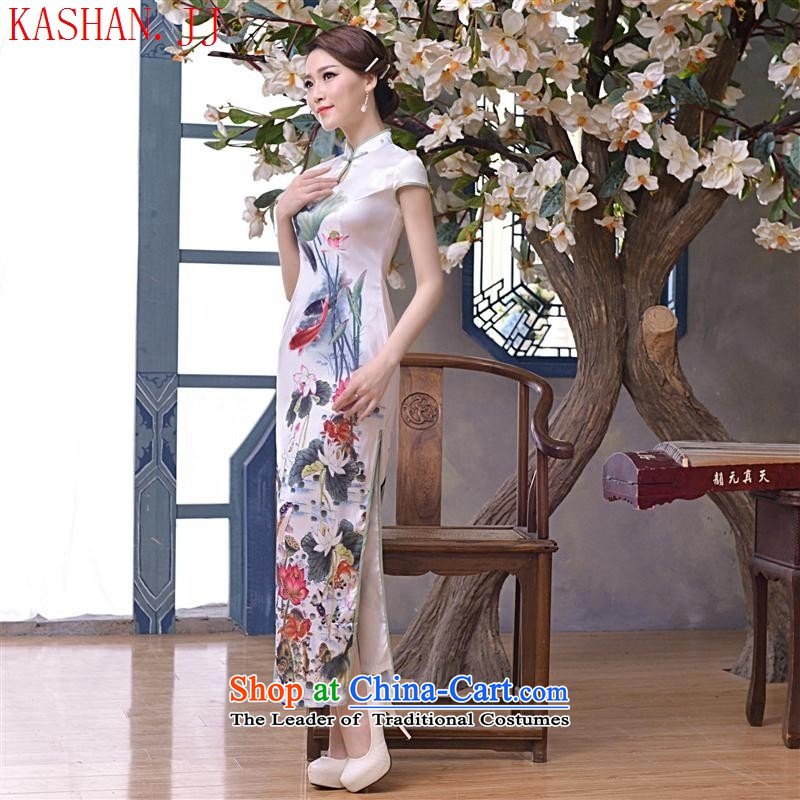 Mano-hwan's 2015 New Silk sexy retro long qipao Sau San daily improved cheongsam dress suit picture?M