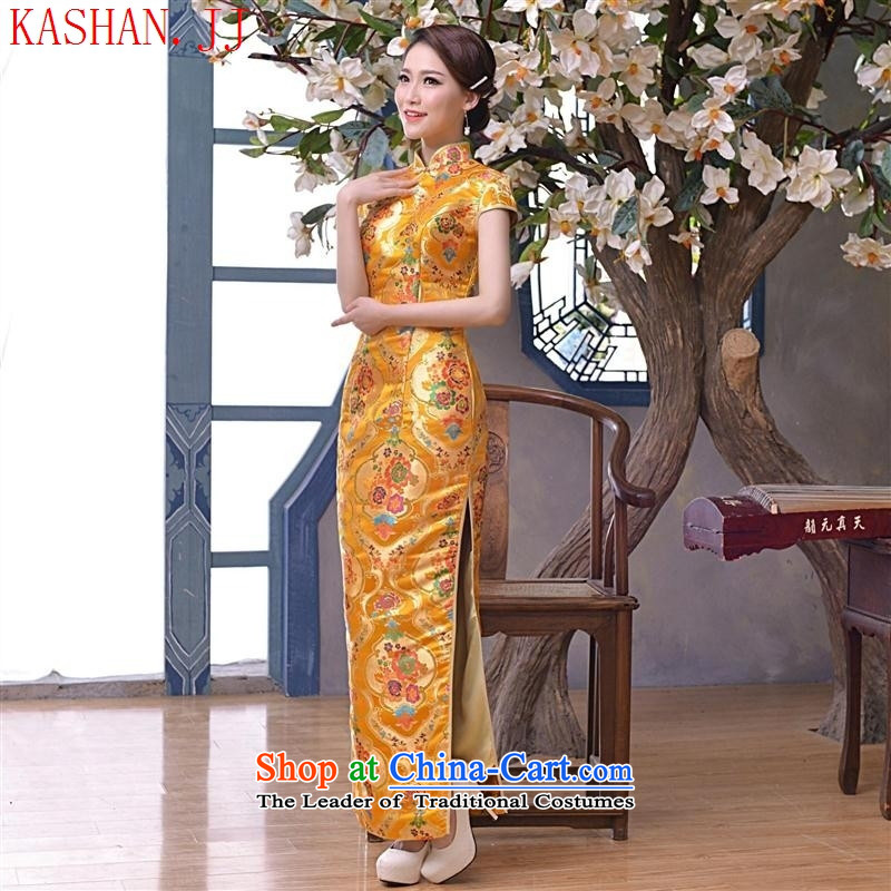 Mano-hwan, the summer and fall of 2015 with new long qipao tapestry antique dresses large clothing dress suit picture燤