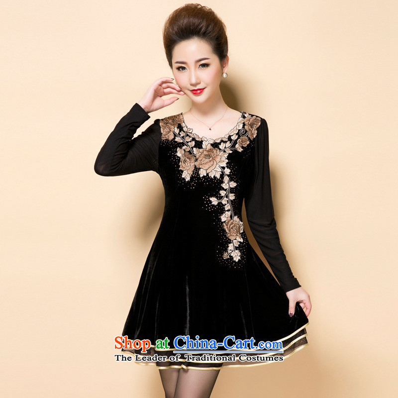 Web soft clothes with new autumn 2015 mother replacing embroidery embroidery Korean high-end temperament of older Kim scouring pads long-sleeved dresses Black燲L