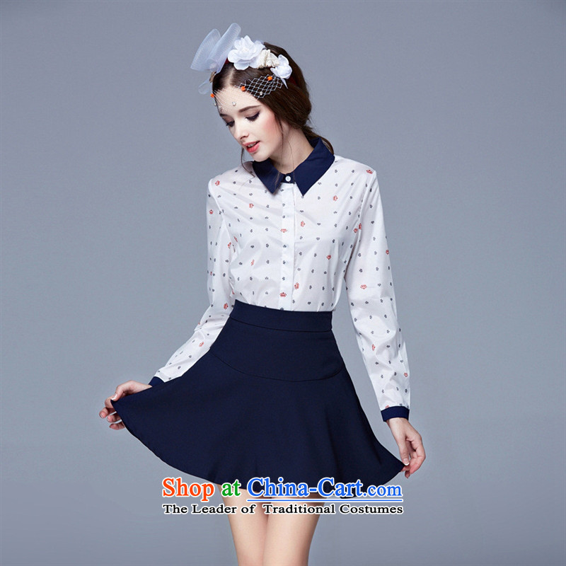 The Black Butterfly 2015 Autumn New) commuting OL long-sleeved shirt loose stamp wild video thin A skirt umbrella skirt white shirt + navy blue skirt umbrella L