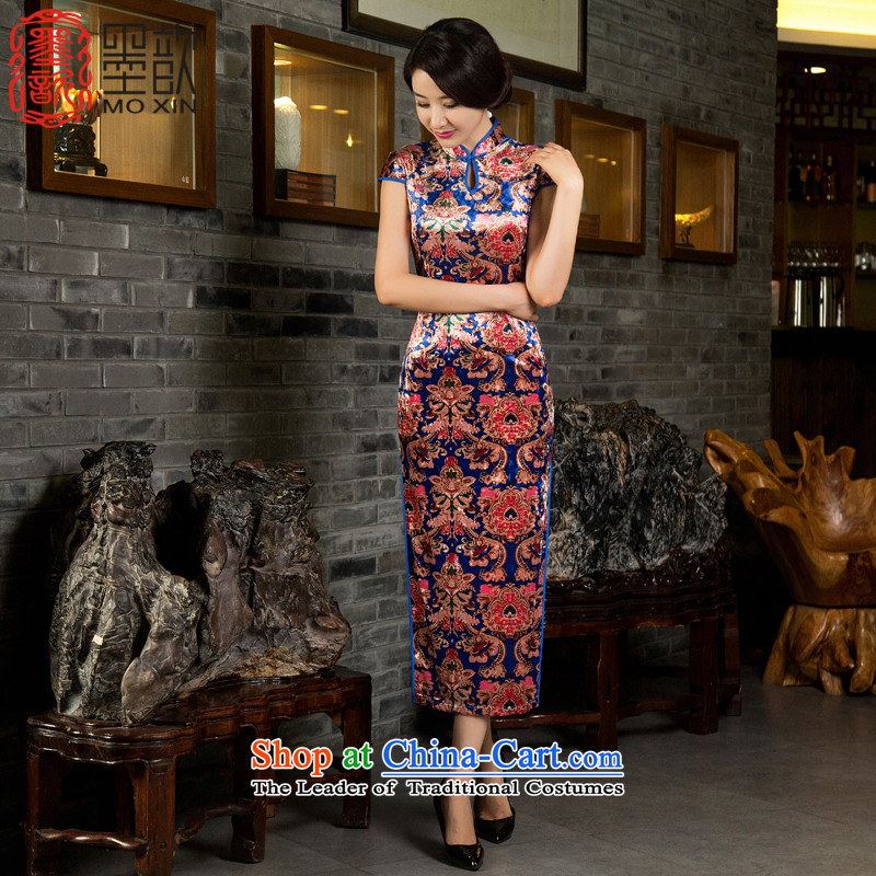 The Mui 2015 歆 ink in the autumn of qipao replacing velvet older cheongsam dress new improved cheongsam dress retro M85026 Sau San picture color L
