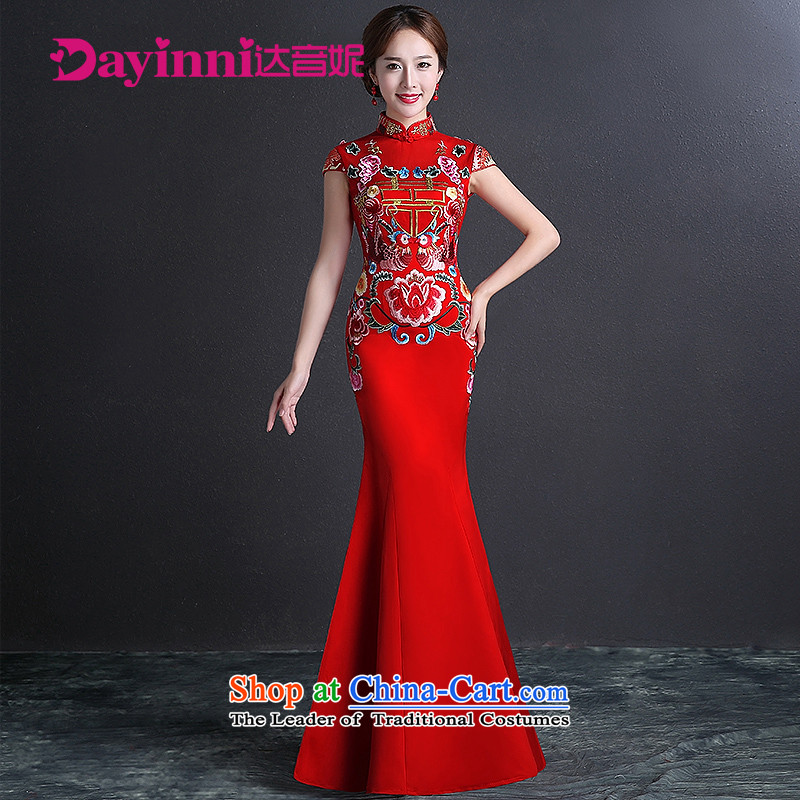 Bridal dresses long 2015 new cheongsam bows Services Mr Ronald Chinese qipao gown crowsfoot Sau San dresses No Code Red M
