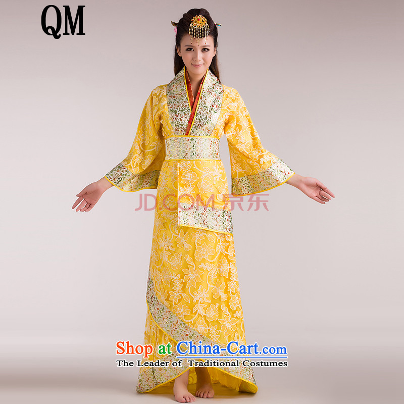 At the end of Light Classical Han-Tang dynasty/Han-/costumes will Gwi-clothing tail princess cosplay CX3 yellow are code