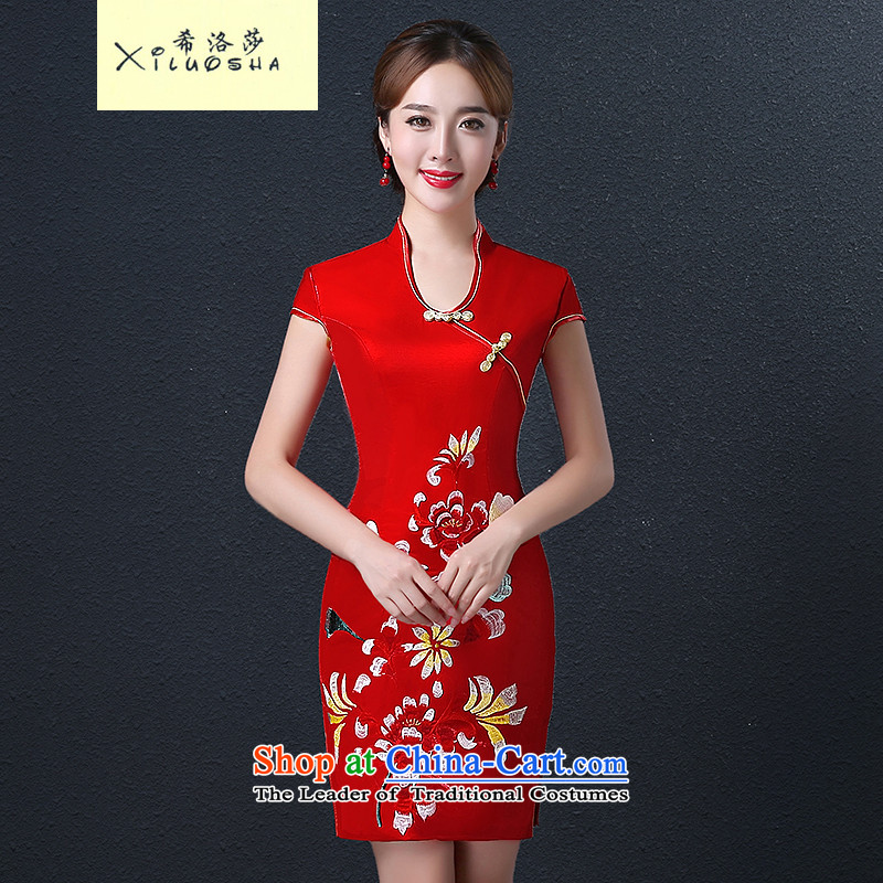 Hillo Lisa _XILUOSHA_ Marriage cheongsam dress 2015 new fall short of qipao bridal dresses bows services video thin red Chinese Dress Red燲XL