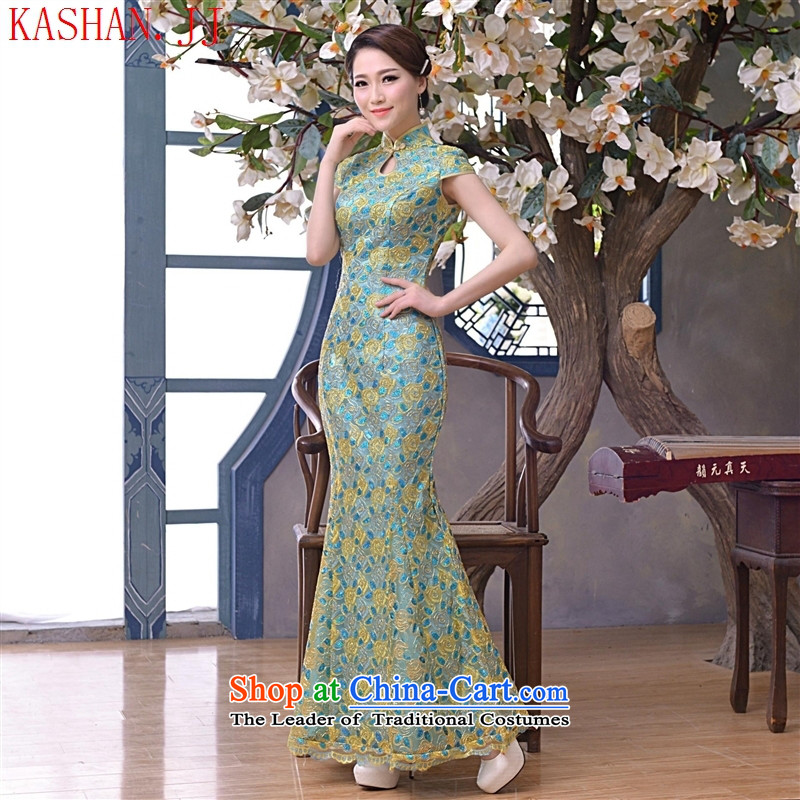 Mano-hwan, the summer and fall of 2015, the new silk embroidery long su tapestries cheongsam dress retro improved evening dress suit picture?XL